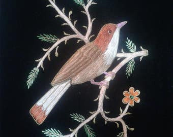 Baird's Sparrow Zardozi Embroidery Wall Hanging For Home Decoration Can Also Be A Gift