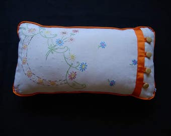 Vintage embroidered fabric cushion - upcycled and handmade