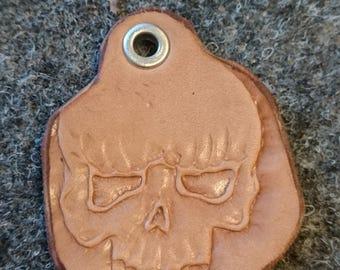 Leather key pendant skull