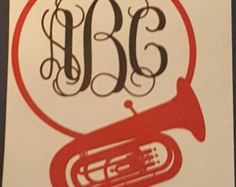 Tuba Car Decal, Marching Band Decal
