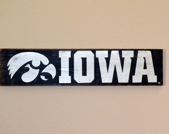 University Of Iowa Hawkeyes wooden sign - IOWA with tigerhawk