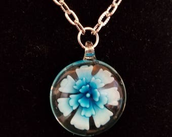 Blue flower pendant necklace,  flower necklace, flower, blue