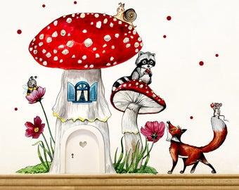 Elf door with wall decals mushroom forest animals E07