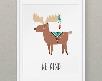 Moose Wall Print, Rustic Boy Nursery, Above Crib Decor, Woodlands Nursery, Tribal Nursery, Nursery Wall Art - Tribal Moose Be Kind