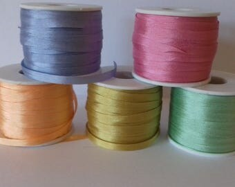 4mm Silk Ribbon 5 Metres Assorted Colours
