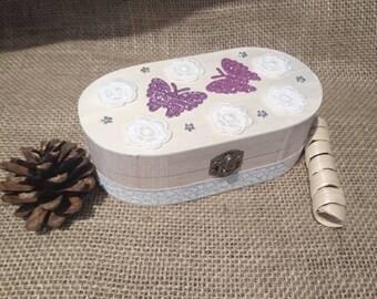Pink Butterfly Jewellery Box