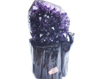 Natural purple cluster degaussing crystal original stone with amethyst hole