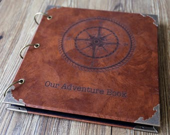 Compass Leather Photo Album /Our Adventure Book/personalized Wedding Guest Book/weddinng photo album