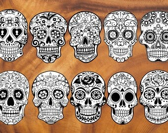 10 Sugar Skulls ClipArts | Sugar Skulls Svg | Sugar Skulls Black&White | Day of the Dead | Sugar Skull outline | day of the dead cliparts |