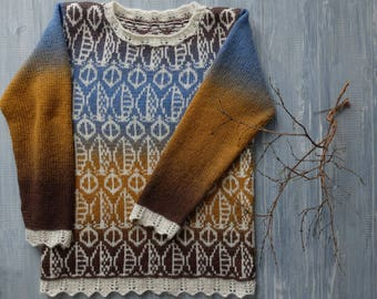 Jacquard hand-knit sweater Honey and chocolate