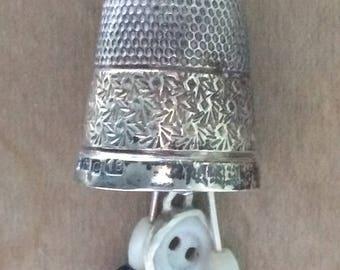 Silver vintage thimble necklace
