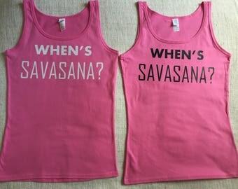 Yoga top,Whens Savasana?,Yoga Clothes, Womens yoga wear, Workout clothing, Pink yoga top, Yoga vest, Yoga, savasana, pink vest, yogi