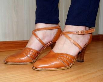 VINTAGE Hoglmade Exclusiv Design Austria women's LEATHER cognac brown high heel STRAP sandals eu 38 / uk 5 / us 7.5