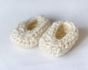 Handmade Crocheted Cream Baby Booties With Gold Accents
