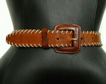 Brown LEATHER Two Tone Blanket Stitch VINTAGE Belt