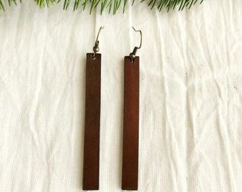 Leather Strip Earrings - Large - Brown