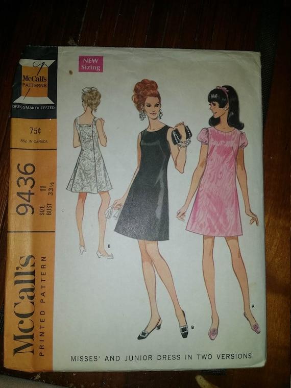 Mc calls 9436 Misses size 11 bust 33 1/2 A line dress