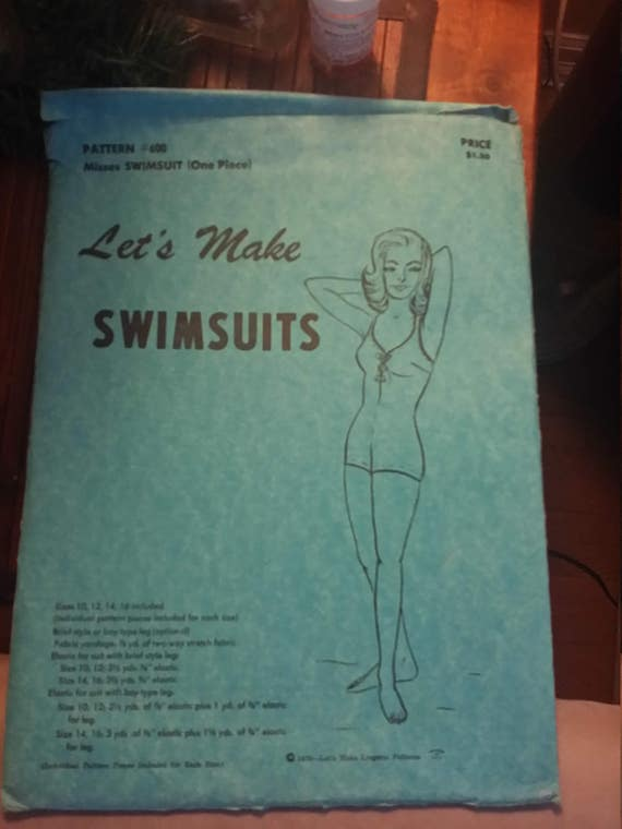 "Vintage uncut  Swimsuits pattern "" Lets make swimsuits"" pattern #600 Sz 10,12,16"