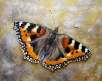 Butterfly Print. Small Tortoiseshell. Fine Art. From An Original Oil Painting. Wall Art. Wildlife Nature Lovers and Gardeners. Birthday Gift