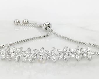 Calista Silver Plated Adjustable CZ Flower  Friendship Bracelet
