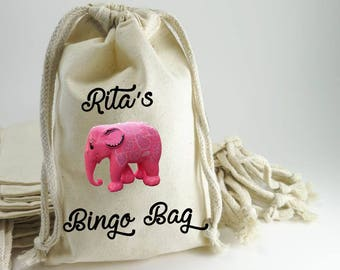 Bingo Bag, Bag for Bingo, Pink Elephant, Treat Pouch, Drawstring Bag, Loot,Party Favor, Gift Bag, Bag for Dobbers, Elephant, Pouch