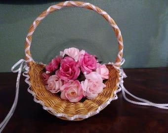 Wedding/Flower Girl Basket Pink Roses