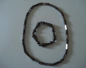Grey Metallic Bead Necklace & matching bracelet