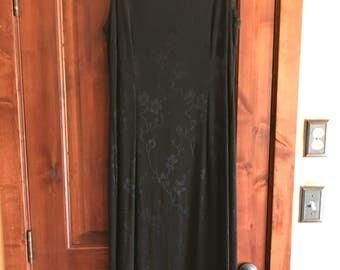 Vintage 'Cut Loose' Black Floral Crepe Evening Dress - size 10
