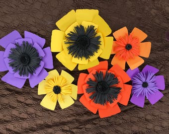 6 pc Paper Flowers, home decor, party, nursery.