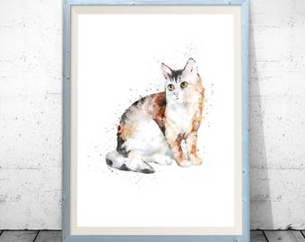 Cat illustration, cat watercolor, cat print, cat painting, cat poster, watercolor painting, cat wall decor, watercolor print cat watercolour