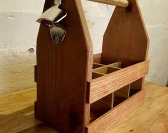 Handmade Beer Caddy and Bottle Opener