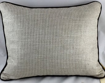 Linen Check Cushions with Brown Linen Piping
