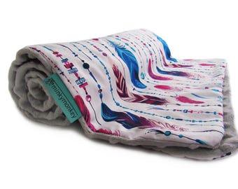 Baby minky blanket, Feathers blanket, Light baby blanket, Modern blanket, Soft Blanket