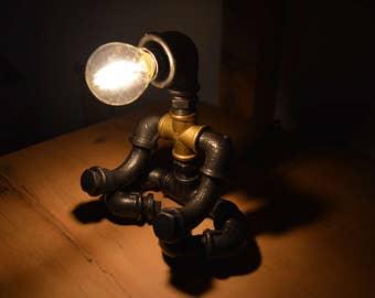 "Steampunk Industrial Lamp ""Enlightnment"" - Meditation, Yoga, ZEN"