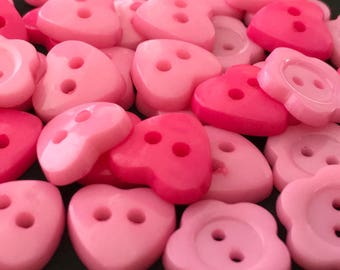 10 Pink Heart & Flower Shaped Plastic Buttons, Floral, Pretty, Spring, Summer