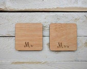 Personalised Wooden Mr & Mrs Coaster Set