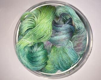 "Hand Dyed Yarn- Hand Dyed Sock Knitting Yarn 100 grams - ""Praia De Quarteira"""