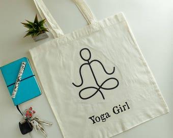 Yoga Girl bag*Quote bag*Vegan bag*Tote bag*Shopping bag*Organic bag*Grocery bag *Cotton raw bag
