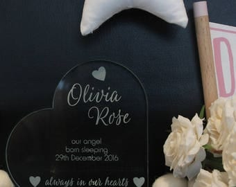 Memorial Plaque - acrylic remembrance plaque, our angel born sleeping,