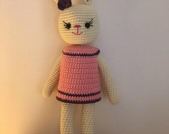 100% Handmade amigurumi  crocheted toy Easter rabbit