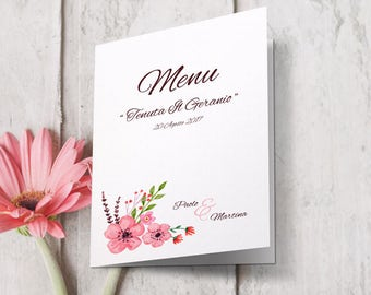 Floral wedding menu. Combined with calls for equal. Style peach blossom. In shades of pink. Wedding menu.