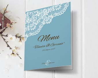 Fake blue lace wedding menu. Details printed in vintage style. Combined with calls for equal. Printing wedding menus.