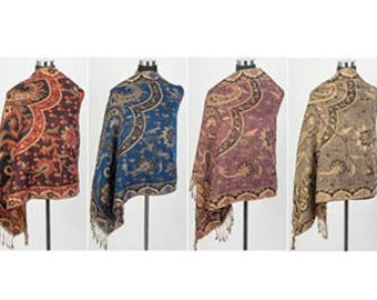 Pashmina Scarf Shawl - Pashmina Gold Line Paisley Print - 6 pieces - Wedding Favor - Gifts for Clients - Spa Gift - Thai Inspired Pashmina