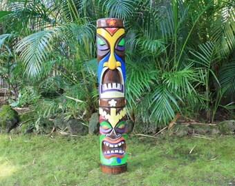 "Colorful Tiki Totem Pole 40"" - Kids Tiki Decor Outdoor Decore Yard Furniture Tiki Bar mask Face Ornaments Tribal Hawaii Native Statue"