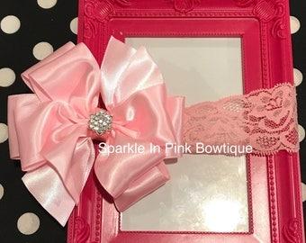 Pink Satin Lace Headband