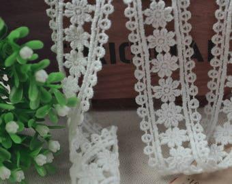 2 yards cotton lace trim, white thin trim lace,ivory lace trim, bridal lace trim, Cord lace fabric, embroidered lace trim, retro lace trim
