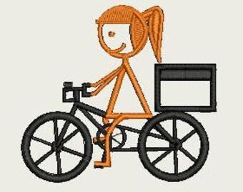 Girl Riding Bike (140mm x 140mm Hoop)