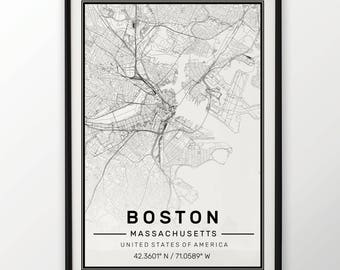Boston City Map Print, Modern Contemporary poster in sizes 50x70 fit for Ikea frame All city available London, New york Paris Madrid Rome
