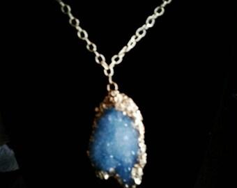 Blue Crystal w/ gold leaf trim
