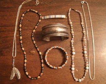 Vintage 7 piece Jewelry set Necklaces, Bracelets and Barrett